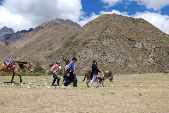 Locals, horses and donkeys on the Inca Trail