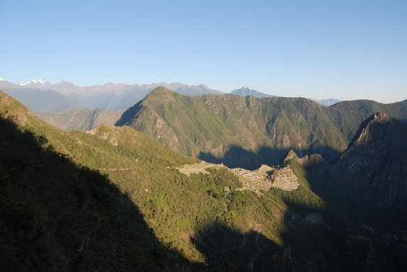 First view of Machu Picchu from the Sun Gate