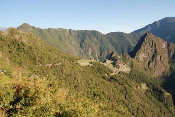 The 'lost city' sits on a small hill between the Machu Picchu and Huayna Picchu mountains.