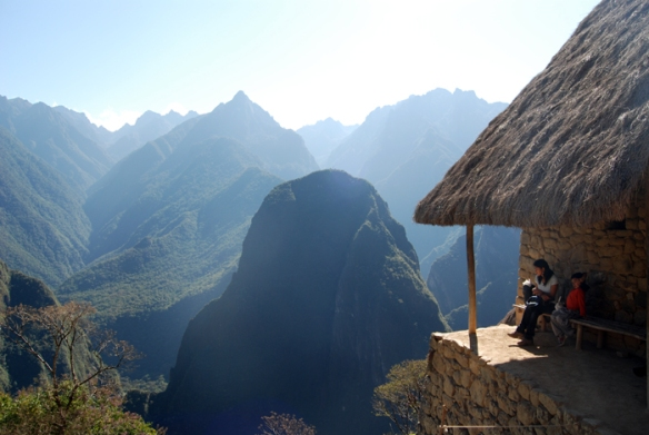An incredible view of the mountains surrounding Machu Picchu.