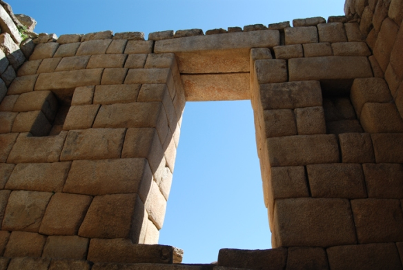 A window that connects the Temple of the Sun with the Chamber of the Princess. This building contains some of the best carved stonework in Machu Picchu, as the stones fit perfectly together.