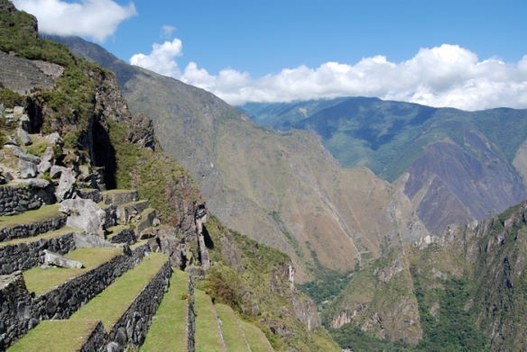 Another remarkable view of the steep terraces of Machu Picchu and the imposing mountain surrounds.