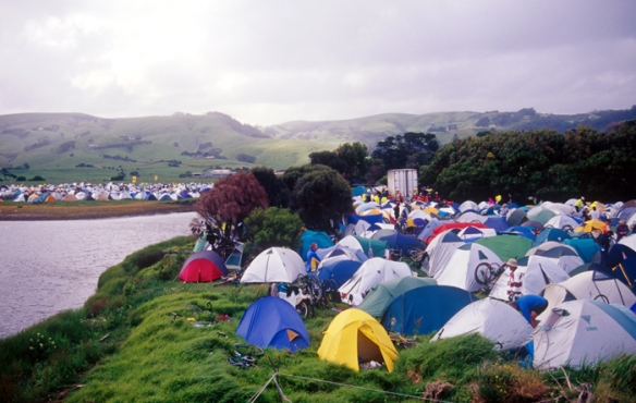 Tents at Apollo Bay during the Great Victorian Bike Ride