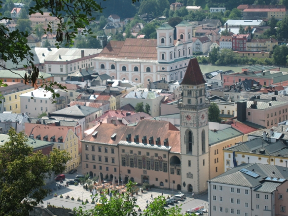 View of Passau's Old Town from Veste Oberhaus (fortress)