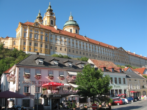 The majestic Melk Abbey towers over the village of Melk