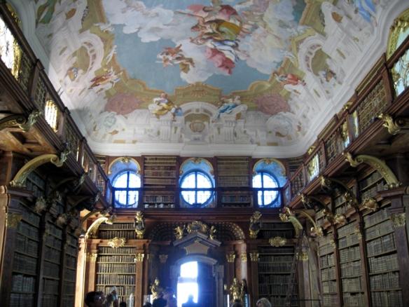 The breathtaking library inside Melk Abbey