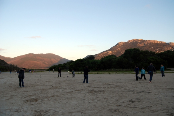 Playing cricket at dusk, Tidal River