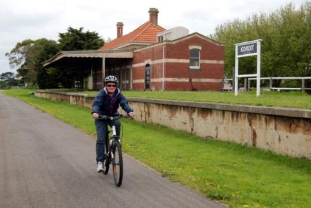 Cycling through Koroit Railway Station