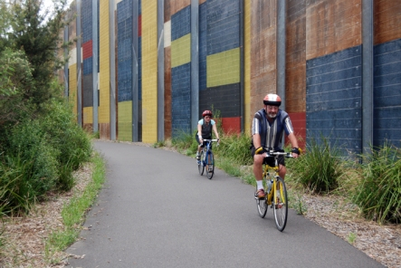 Colourful noise wall barriers on the EastLink Trail