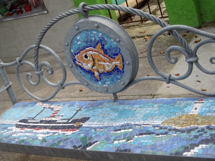 Fish Creek decorated park bench