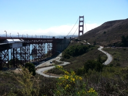 Cycling downhill on route to Sausalito