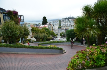 The crookedest street in the world, with Coit Tower in the background