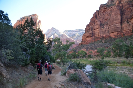 Setting off on the Angels Landing hike