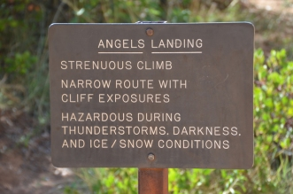 Sign for the last section of Angels Landing hike