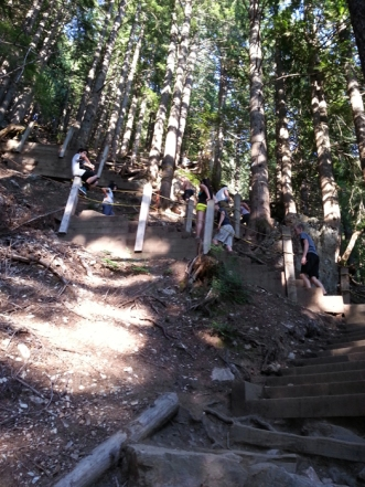 Steep switchbacks near the top of the Grouse Grind
