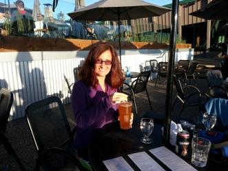 My friend Aldona enjoying a drink.