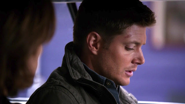 The rug burn is still evident on Dean/Jensen's forehead - Citizen Fang (season 8).