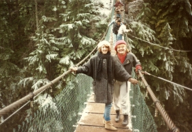 Karen and Karen on the Lynn Canyon suspension bridge