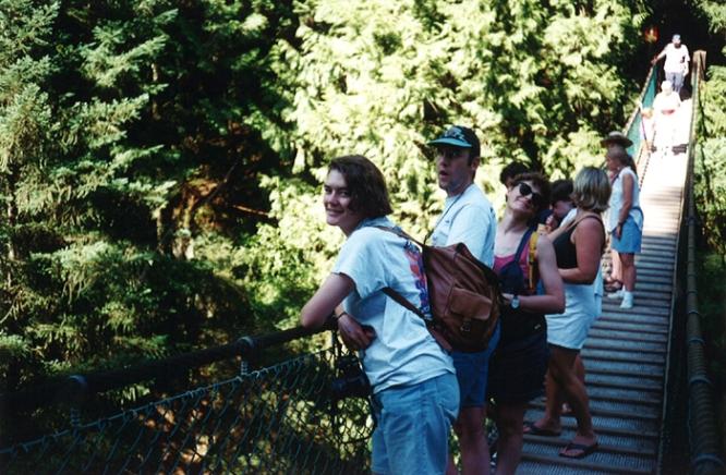 Mary, Bruno & Anne on the suspension bridge