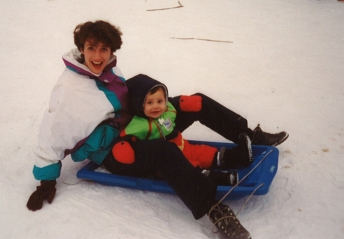 Karen & Jasper tobogganing