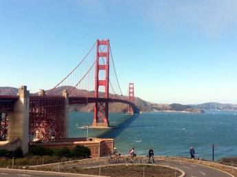 Cycling across Golden Gate Bridge, San Francisco