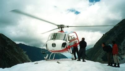 Heli-hiking on Fox Glacier in New Zealand