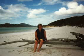 Swimming at Whitehaven Beach in Queensland