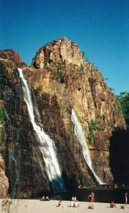 Swimming to Twin Falls in Kakadu, Australia