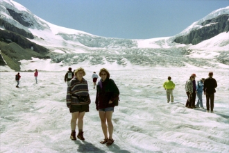Walking on Athabasca Glacier in Canada
