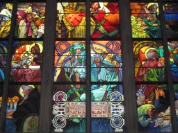 Seeing Alphonse Mucha artwork in Prague, Czech Republic