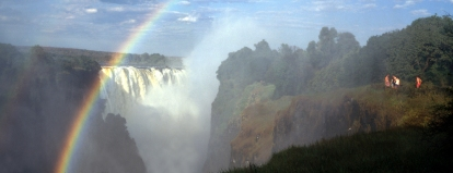 Getting wet from the spray of Victoria Falls, Zimbabwe
