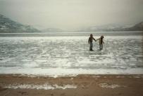 Walking on a frozen lake in the Okanagan, Canada