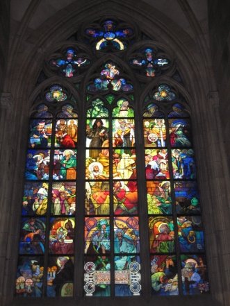 Mucha's stained glass window in St Vitus Cathedral