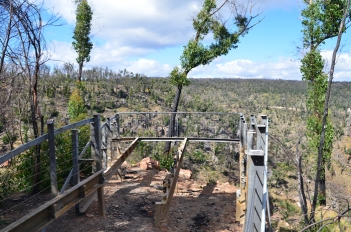 Burnt out viewing platform at MacKenzie Falls